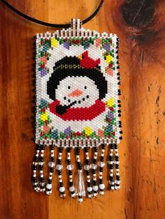 Snowman & red bird, Cardinal, peyote beaded necklace, saw this cute pattern & gave it a try