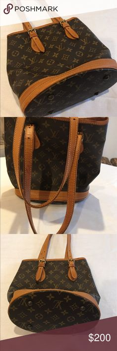 "Authentic Louis Vuitton Bucket Pm Monogram Authentic Bucket Pm Monogram Canvas Leather Shoulder Bag 9"" L x 10.25""H x 6.5""W Inside lining is deteorating, sticky, and repair is recommended before use. Please see all pictures.additional post of listing. No trades no ppyl, only sold on poshmark Louis Vuitton Bags Shoulder Bags"