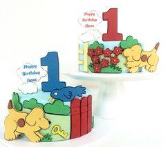 Twin cake spot spotty dog first birthday