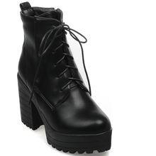 De la mujer bombea los zapatos negro blanco gruesa suela zapatos de tacones altos Lace up plataforma primavera otoño invierno mujeres bombas botines(China (Mainland))