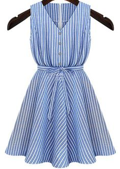 Blue V Neck Long Sleeve Belt Striped Dress - Sheinside.com Mobile Site