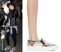 We're Already Creating Our Spring Wish Lists After Seeing This Week's Cheap Celeb Finds  Alessandra Ambrosio's Shoes Steve Madden x The Blonde Salad NYC Slip On Sneaker in Natural Snake, $129  At $129 this is only marginally realistic for the 15% but WTF, a good flat is hard to find.