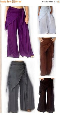 15% OFF OCT Special SALE Q551 Bell Bottom Pants With Scarf Made To Order Elastic Waist Wide Leg Flat Rayon Sexy Stylish s m l xl 1x 2x 3x 4x