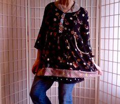 102  Large Feminine Mini Dress Jeans Topper Med by ArtzWear
