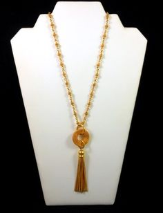 """ANNE KLEIN II Gold Plated Tassel Necklace 32""""L Statement Piece Awesome! $48.00 SOLD"""