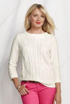 Women's 3/4-sleeve Lofty Cotton Cable Trim Crewneck from Lands' End - KAL inspiration #customfitKAL