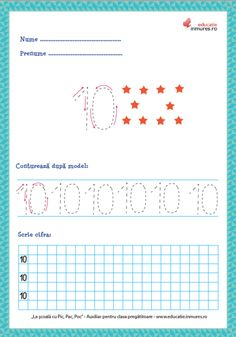 Set de fișe de lucru cu exerciții de scriere corectă a cifrelor ( 1-9) și numărul 10. se pot descărca gratuit în format PDF pentru print. Numbers Preschool, Math Activities, Teaching, David, Ely, Gabriel, Iris, Dental, Printable