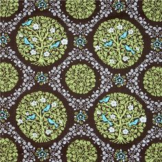 Vera Bradley fabric desigh 'trees-birds-flowers'. Pale green, white and turquoise on chocolate brown background.