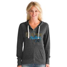 Touch by Alyssa Milano Carolina Panthers Women's Black 2015 NFC Conference Champions Nubby Tri-Blend Full-Zip Hoodie