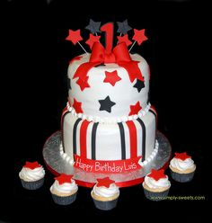 This in Ravens colors would be cool. black and red 1st birthday 2 tiered cake by Simply Sweets, via Flickr