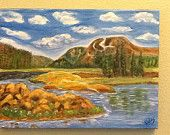 The Valley Original Oil Landscape Painting 12x16 stretched cotton duck canvas.  The inspiration for this painting actually came from a photo in a calendar on my office wall.  I don't believe in stealing from anyone else work so I made changes in the mountain range and of course my bold colors that I love!