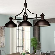 Beautiful Fredela 3 - Light Kitchen Island Linear Pendant by Trent Austin Design Lighting Home Decor Furniture from top store Kitchen Pendants, Island Pendants, Kitchen Backsplash, Kitchen Countertops, Kitchen Cabinets, Kitchen Appliances, Classic Kitchen, Kitchen Island Lighting, Kitchen Islands