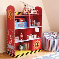 Fire Engine Bookcase - Bedroom storage to the rescue - here's the perfect place for books and treasures of a particularly special nature. And you might like to know it matches our Fire Engine Toddler bed Fireman Room, Firefighter Bedroom, Big Boy Bedrooms, Baby Boy Rooms, Kids Bedroom, Bedroom Ideas, Fire Truck Bedroom, Truck Room, Bookshelves Kids