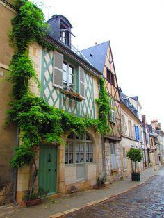Bourges , France - Rue Bourbonnoux et ses maisons du Moyen-Age Roads And Streets, Beaux Villages, France Travel, Rue, Us Travel, Bourges France, Paris France, Paths, Facade