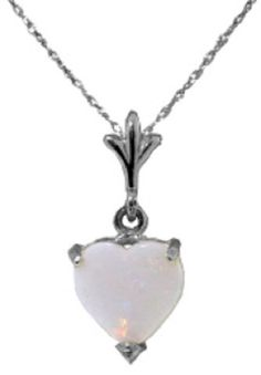 0.7 Carat Sterling Silver Necklace Natural Heart Opal