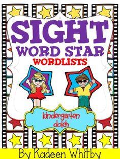 FREE Sight word lists-Kindergarten Dolch