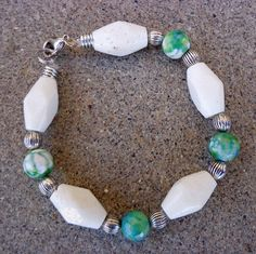 Coral and green white agate bracelet and by CharismaBolivia, $25.00