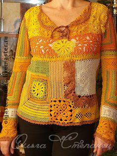 Кофточка в стиле пэчворк - Вязание крючком,пэчворк,оранжевый,зеленый,коричневый