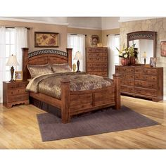Signature Design By Ashley Timberline King Bedroom Set In Warm Brown Cherry