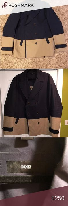 """Hugo BOSS Chion Colorblock Peacoat FLAWLESS Hugo Boss cotton pea coat. The tagged size is a 46R but there's plenty of length in the sleeves as I wear a 46L and it's fine for me. Actual sleeve length is 28"""". Jacket length is 30.5"""". I wore the jacket twice and it just isn't my style. I received a ton of compliments and I paid VERY good money on it (Google the title and you will see what it truly costs). It comes from a smoke and pet free home. MAKE AN OFFER! Hugo Boss Jackets & Coats Pea Coats"""