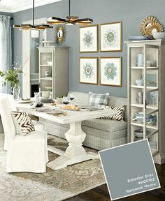 Living room color ideas Room Paint Colors Benjamin Moores Brewster Gray From The Ballard Designs Catalog Dining Room Office Small Dining Rooms Pinterest Paint Colors From Octdec 2015 Ballard Designs Catalog Paint