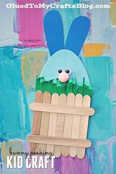 Craft Foam Egg Easter Bunny Hiding Behind Popsicle Stick Fence - Spring Themed Kid Craft Idea #gluedtomycrafts #kidcrafts