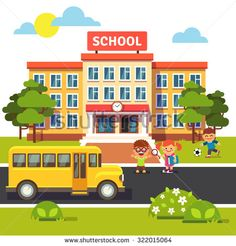 School building, bus and front yard with students children. Flat style vector illustration isolated on white background. - stock vector