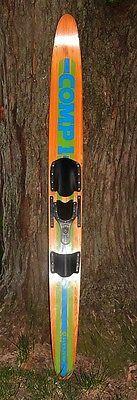 Vintage CUT N JUMP Comp 1 Wooden Slalom Water Ski with Adjustable Binding VGUC!