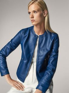 Spring summer 2017 Women´s BLUE NAPPA LEATHER JACKET at Massimo Dutti for 229. Effortless elegance!