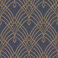 Diamond Geometric Wallpaper - Navy Blue and Gold - - Astoria Deco Wallpaper Dark Blue and Gold Rasch 305340 Geometric Wallpaper Navy, Navy Wallpaper, Art Deco Wallpaper, Interior Wallpaper, Vinyl Wallpaper, Designer Wallpaper, Pattern Wallpaper, Trendy Wallpaper, Antique Wallpaper