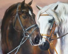 Love - Horse painting Art Print on canvas