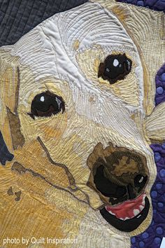 Daisy by Mandy Fleig. Photo by Quilt Inspiration: 2019 SCVQA: Quilts Celebrating Creativity ! part 1 International Quilt Festival, Dog Quilts, Yosemite Falls, Landscape Quilts, Thread Painting, Hand Applique, Santa Clara, Quilt Patterns Free, Northern California