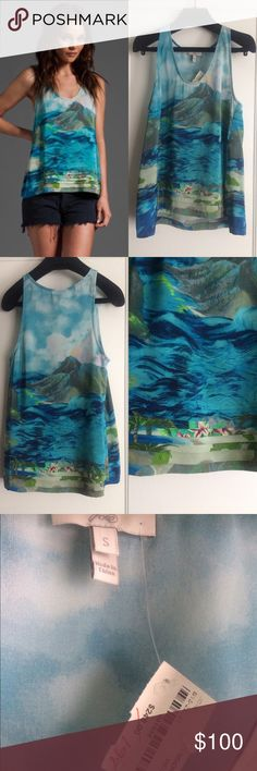 """Joie Silk Tank Top NWT Breezy coordinates that present this season's defining runway looks with everyday wearability. Color - Mediterranean. 100% silk. Pleated hemline.  •Size Small •Scoopneck •Sleeveless •Pleated hemline •Allover scenic ocean/ mountain/ beach/ floral print with watercolor effects •Chest: 17"""" •Length: 24"""" •New with tags - never worn Joie Tops Tank Tops"""