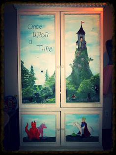 Hand painted fairy tale bedroom armoire furniture.