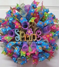 Spring Mesh Wreath,Spring Wreath,A Gift for Mom,Mother's Day Wreath,Spring Wall Decor,Spring Welcome Wreath by CherylsCrafts1 on Etsy