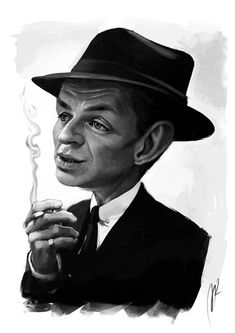 Frank Sinatra Caricature by Marzio Mariani. #Celebrity #Caricatures #Oddonkey