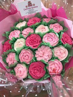 A beautiful pink cupcake bouquet