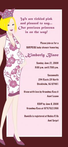 Pregnant Mom Princess Baby Shower Invitation!