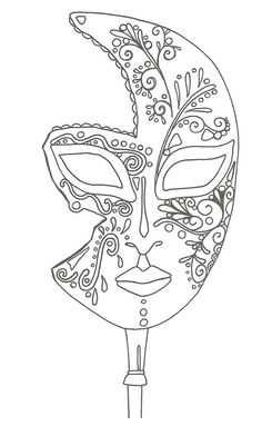 Coloriage masque v nitien grande image carnaval pinterest stress anti stress and search - Coloriage masque de carnaval ...
