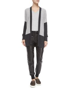 Colorblock Mixed-Knit Cardigan, Ribbed Knit V-Neck Sweater & Leather Belted Jogger Pants by Vince at Neiman Marcus.