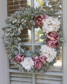 Gorgeous spring wreath with peonies and hydrangeas!