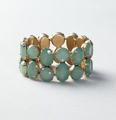 Circle and Rectangle Casted Gemstone Stretch Bracelet