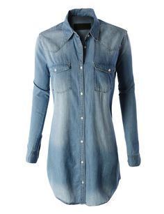 LE3NO Womens Classic Loose Fit Chambray Jean Denim Shirt Dress with Pocket  Medium