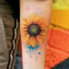 Colorful Sunflower Tattoo, Watercolor Sunflower Tattoo, Sunflower Tattoo Meaning, Sunflower Tattoo Sleeve, Sunflower Tattoo Shoulder, Sunflower Tattoos, Sunflower Tattoo Design, Flower Tattoo Designs, Shoulder Tattoo