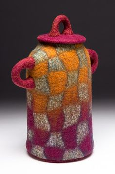 Hand felted wool vessel, removable lid.
