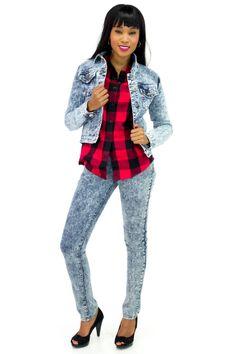 Acid Wash Mid-Waist Skinny Jeans, Plaid Shirt and Acid Wash Denim Jacket | Danice Stores