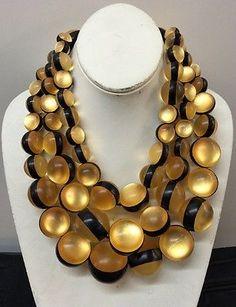 "Danish MONIES Gerda Lynggaard Leather 19"" 3 Strands Necklace | eBay"