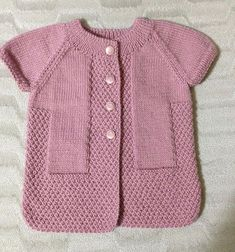 This Pin was discovered by Emi Baby Cardigan, Baby Vest, Pullover Design, Sweater Design, Baby Sweaters, Girls Sweaters, Baby Knitting Patterns, Knitting Designs, Knit Vest Pattern