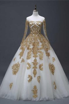 Gold Appliques Puffy Sheer Neck Long Wedding Dresses, Long Sleeves Tulle Bridal Dress This dress could be custom made, there are no extra cost to do custom size and color. Puffy Wedding Dresses, How To Dress For A Wedding, V Neck Wedding Dress, Cheap Prom Dresses, Bridal Dresses, Gold Wedding Gowns, Renaissance Wedding Dresses, Gold Dress, Queen