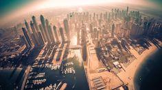 Looking down at Dubai Marina.